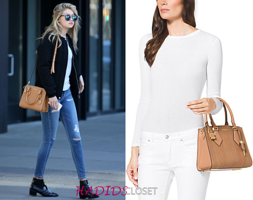 769b399e2f22 ... Gigi Hadid carrying Michael Kors Casey Small Sueded Snakeskin Satchel  ...